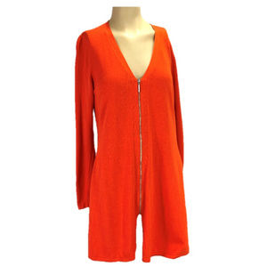 H by HALSTON Orange Cardigan Zip Front Tunic NWT L